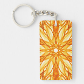 Orange and Yellow Fractal Pattern Double-Sided Rectangular Acrylic Key Ring