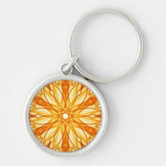 Orange and Yellow Fractal Pattern Key Ring