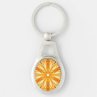 Orange and Yellow Fractal Pattern Silver-Colored Oval Key Ring