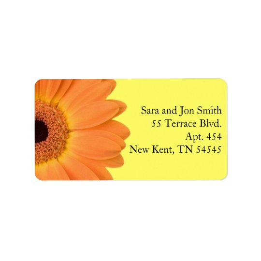 Orange and Yellow Gerber Daisy Address Labels
