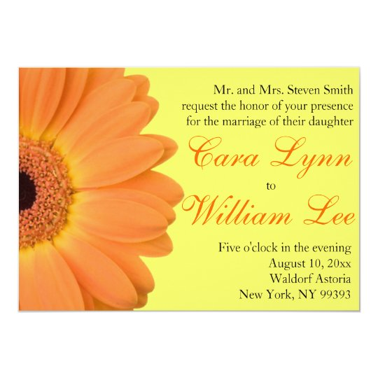 Orange and Yellow Gerber Daisy Wedding Invitations