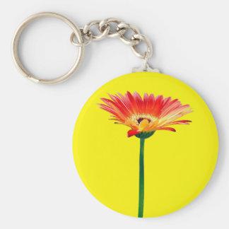 Orange and Yellow Gerbera Daisy Key Ring