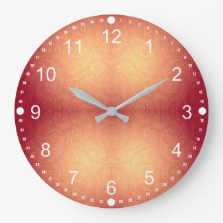 Orange And Yellow Gradient Modern Paisley Pattern Large Clock