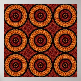 Orange and Yellow Retro Mandala Poster