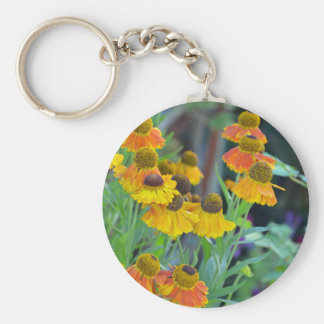 Orange and yellow rudbeckia flowers keychain