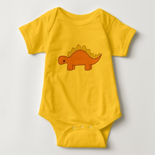 Orange and Yellow Stegosaurus Dinosaur Baby Dino Baby Bodysuit