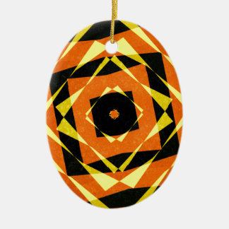 Orange and yellow striped diamond pattern christmas ornament