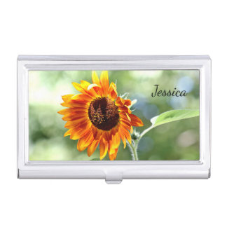 Orange and yellow sunflower business card holder