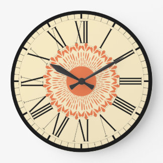 "Orange and Yellow, ""Sunflower"" Geometric Design Large Clock"
