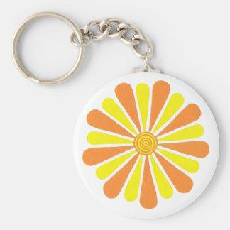 Orange and yellow sunshine flower keychains