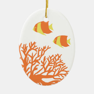 Orange and Yellow Tropical Coral and Angelfish Ceramic Oval Decoration