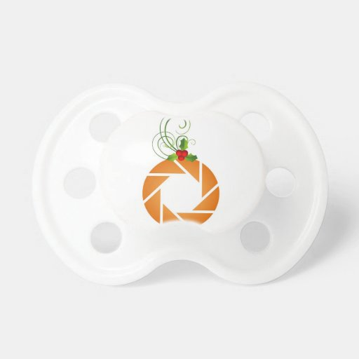Orange aperture with sprig of myrtle pacifiers