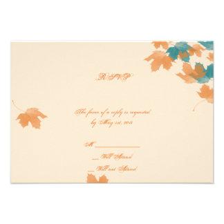 Orange Aqua Autumn Maple Leaf Response Card Custom Announcements