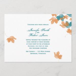 Orange Aqua Autumn Maple Leaf Wedding Invitation