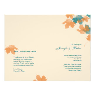 Orange Aqua Autumn Maple Leaf Wedding Program 21.5 Cm X 28 Cm Flyer