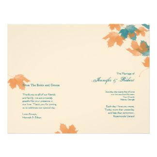 Orange Aqua Autumn Maple Leaf Wedding Program Flyers