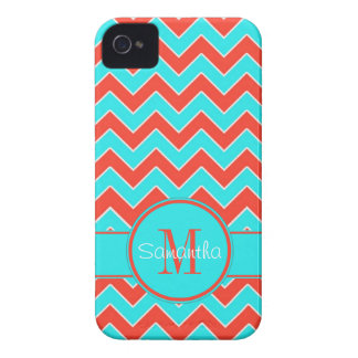 Orange & Aqua Chevron Pattern Custom Monogram Case-Mate iPhone 4 Cases