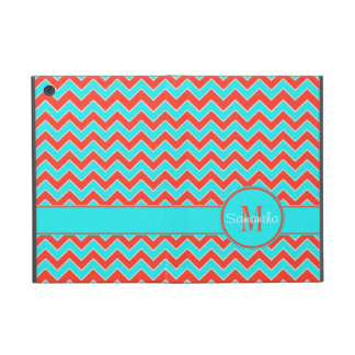 Orange & Aqua Chevron Pattern Custom Monogram iPad Mini Case