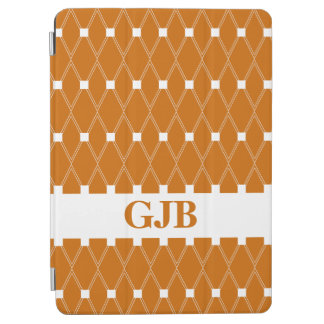 Orange Argyle Lattice with monogram iPad Air Cover