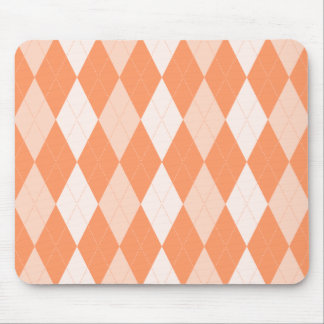 Orange Argyle Pastel Tangerine Small Diamond Shape Mouse Mat