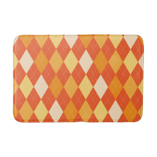 Orange argyle pattern bath mat