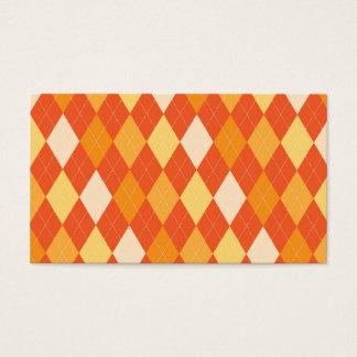 Orange argyle pattern business card
