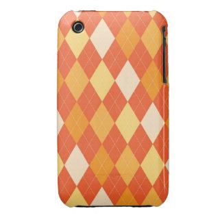 Orange argyle pattern iPhone 3 cases