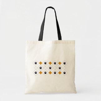 Orange Argyle Paw Prints Canvas Bags