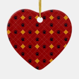 Orange Argyle Paw Prints Ceramic Heart Decoration