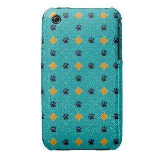 Orange Argyle Paw Prints iPhone 3 Case-Mate Cases