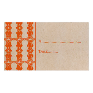 Orange Art Deco Border Place Card Double-Sided Standard Business Cards (Pack Of 100)