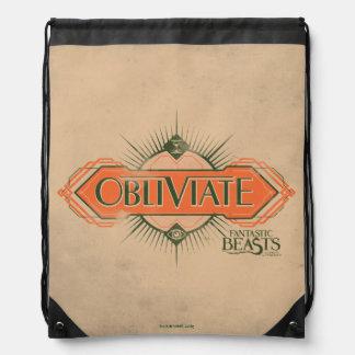 Orange Art Deco Obliviate Spell Graphic Drawstring Bag