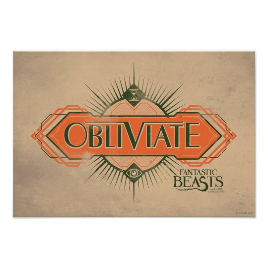 Orange Art Deco Obliviate Spell Graphic Poster