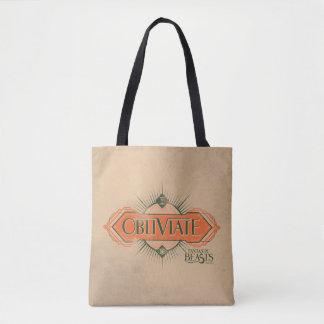 Orange Art Deco Obliviate Spell Graphic Tote Bag