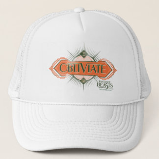 Orange Art Deco Obliviate Spell Graphic Trucker Hat