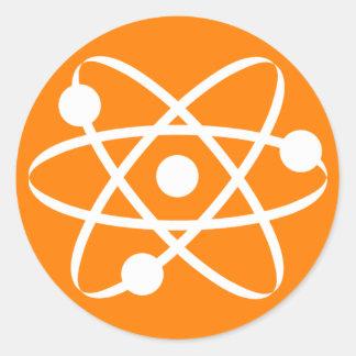 Orange Atom Classic Round Sticker