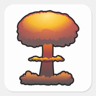 Orange Atomic/Nuclear Explosion Mushroom Cloud Square Sticker