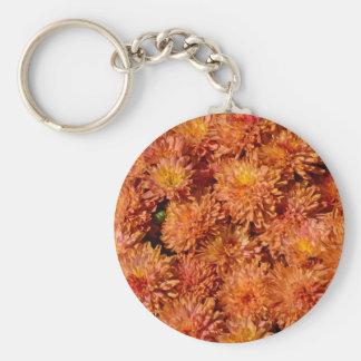 Orange autumn chrysanthemum flowers keychains