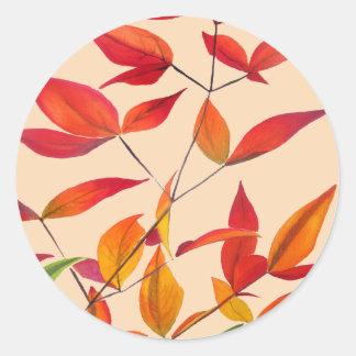 Orange Autumn leaves original watercolour art Classic Round Sticker