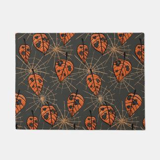 Orange Autumn Leaves Spiderwebs Halloween Pattern Doormat
