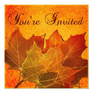 Orange Autumn Leaves Thanksgiving Custom 13 Cm X 13 Cm Square Invitation Card