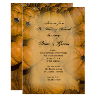 Orange Autumn Pumpkins Post Wedding Brunch Invite