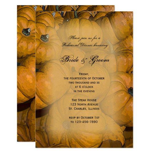 Orange Autumn Pumpkins Wedding Rehearsal Dinner Card