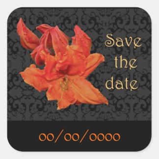 Orange Azalea Blossoms Square Sticker
