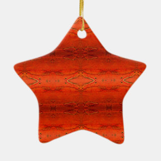 Orange Aztec Pattern Ceramic Star Decoration
