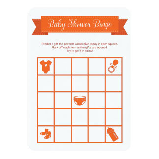 Orange Baby Shower Bingo Game Double Sided 13 Cm X 18 Cm Invitation Card