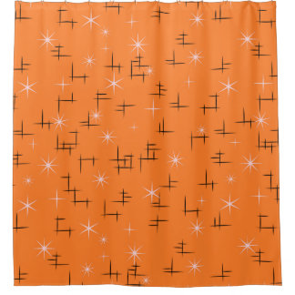 Orange Background Abstract Lines and Retro Stars Shower Curtain