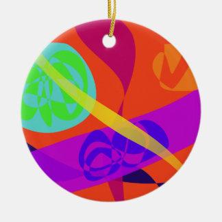 Orange Background Simple Digital Art Round Ceramic Decoration