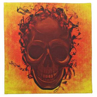 Orange background skull napkin