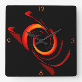 Orange Bang Modern Wall Clock on Black 4 Home